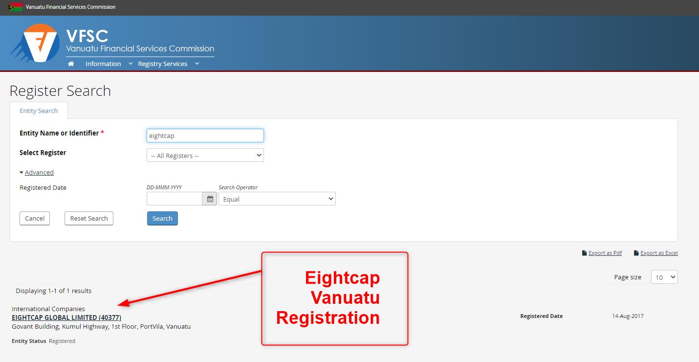 Eightcap VFSC Regulatory Details