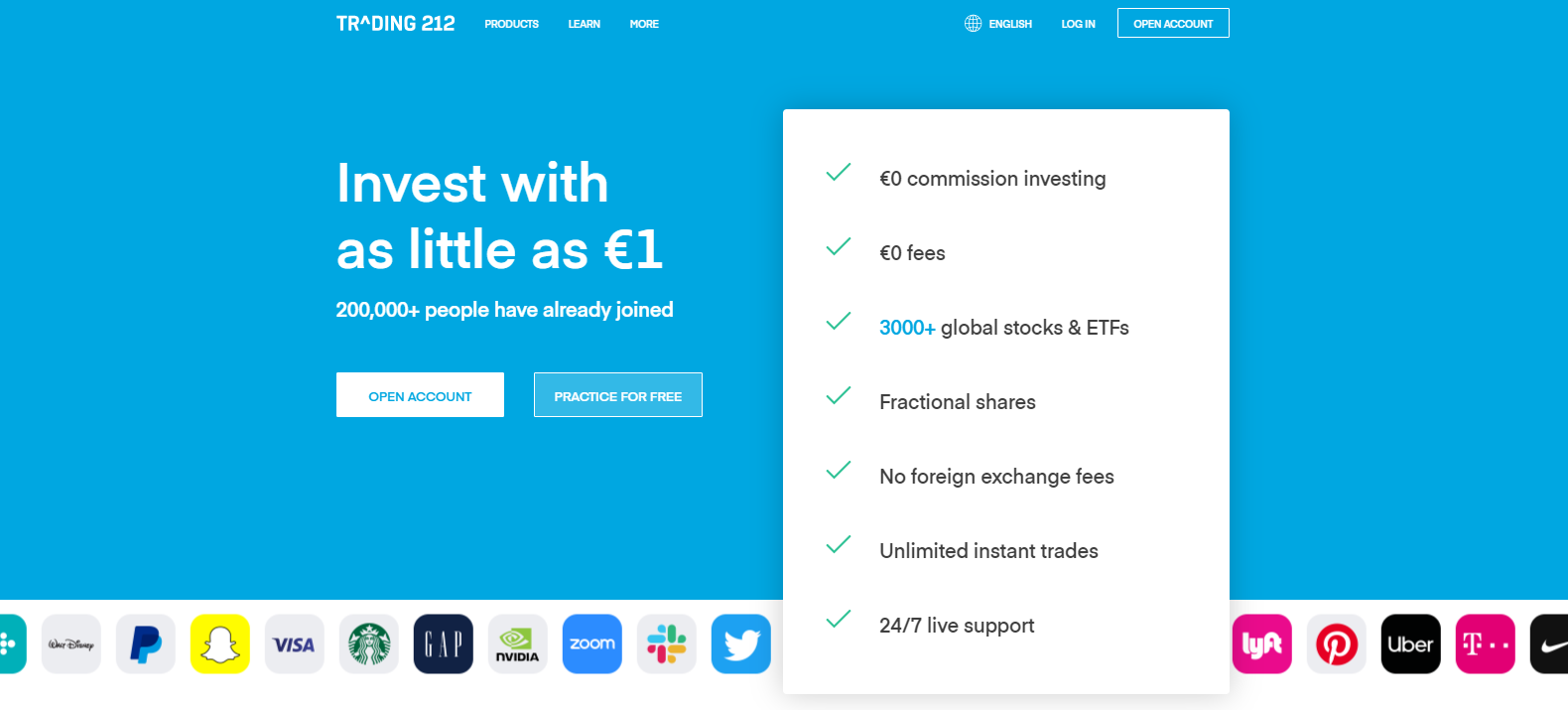 Trading 212 Homepage