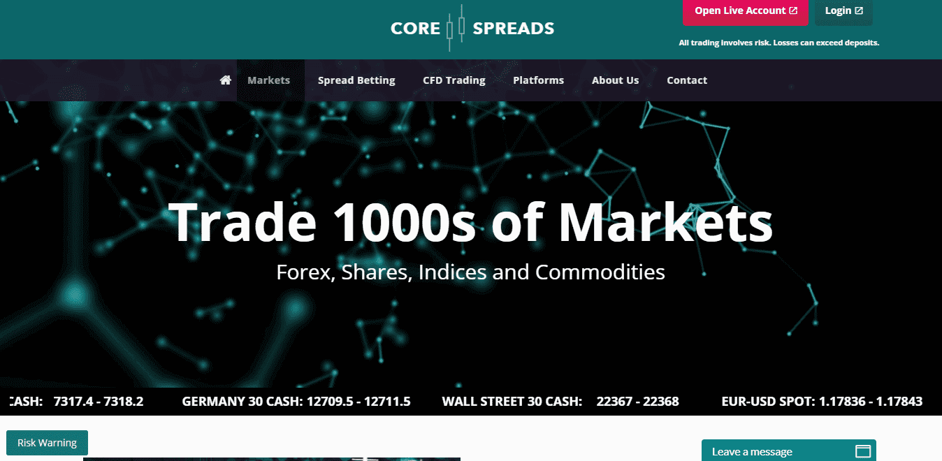 Core Spreads Broker Review